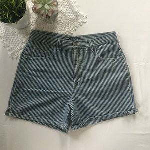 Halston High Waisted Striped Denim Shorts